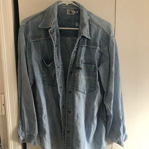 Calvin Klein denim distressed denim shirt